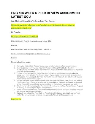 ENG 106 WEEK 6 PEER REVIEW ASSIGNMENT LATEST-GCU