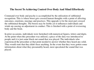 The Secret To Achieving Control Over Body And Mind Effortlessly