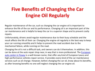 Five benefits of changing the car engine oil regularly