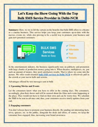Let's Keep the Show Going With the Top Bulk SMS Service Provider in Delhi-NCR