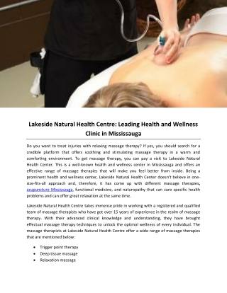 Lakeside Natural Health Centre- Leading Health and Wellness Clinic in Mississauga