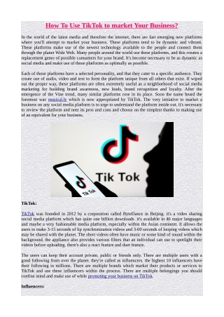 How To Use TikTok to market Your Business?