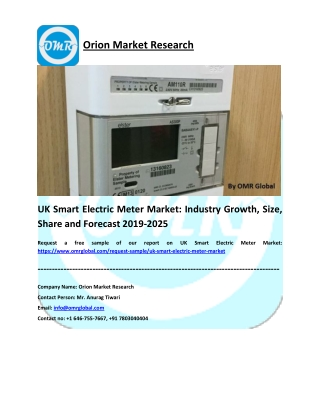 UK Smart Electric Meter Market: Growth, Size, Share and Forecast 2019-2025