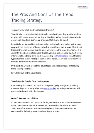 The Pros and Cons of the Trend Trading Strategy