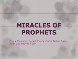 MIRACLES OF PROPHETS