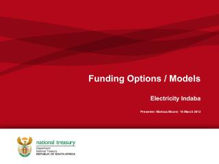 Funding Options / Models Electricity Indaba