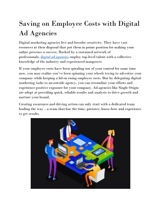 Saving on Employee Costs with Digital Ad Agencies