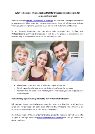 What to Consider when selecting Metlife Orthodontist in Brooklyn for Insurance Coverage?