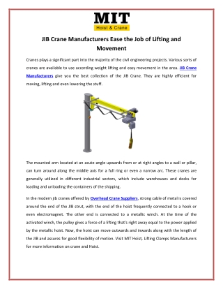 JIB Crane Manufacturers Ease the Job of Lifting and Movement