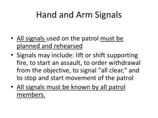 Hand and Arm Signals