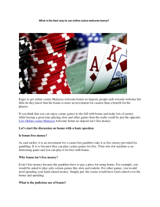 What is the best way to use online casino welcome bonus?