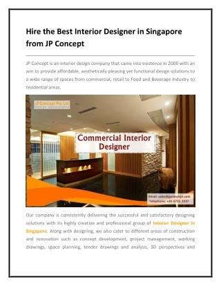 Best Interior Designer in Singapore- JP Concept