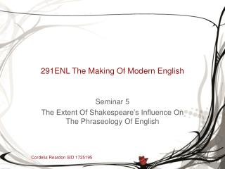 291ENL The Making Of Modern English
