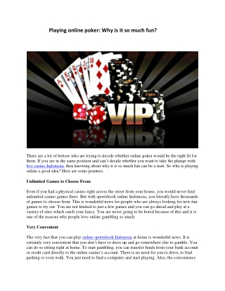 Playing online poker: Why is it so much fun?
