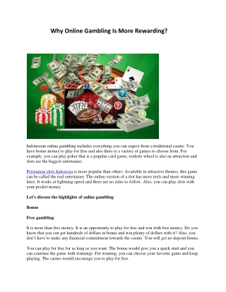 Why Online Gambling Is More Rewarding?