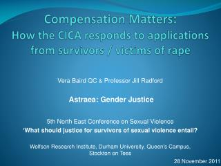 Compensation Matters :  How the CICA responds to applications from survivors / victims of rape