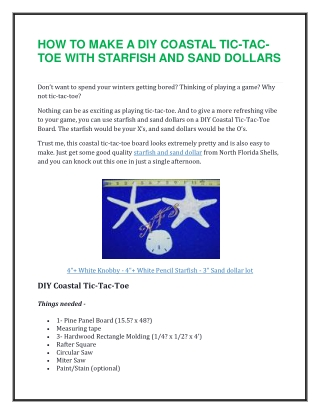 How to Make a DIY Coastal Tic-Tac-Toe with Starfish and Sand Dollars