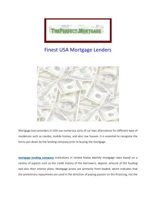 Mortgage Lending Company - The Perfect Mortgage