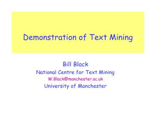 Demonstration of Text Mining