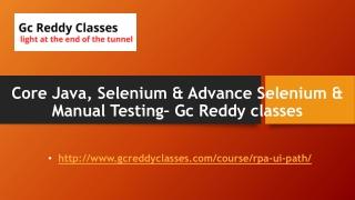 Core Java, Selenium & Advance Selenium & Manual Testing– Gc Reddy classes