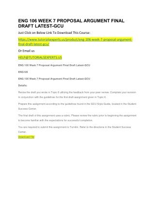 ENG 106 WEEK 7 PROPOSAL ARGUMENT FINAL DRAFT LATEST-GCU