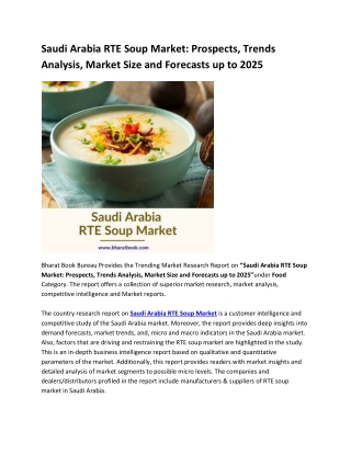 Saudi Arabia RTE Soup Market: Prospects, Trends Analysis, Market Size and Forecasts up to 2025