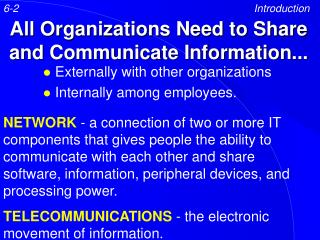 All Organizations Need to Share and Communicate Information...