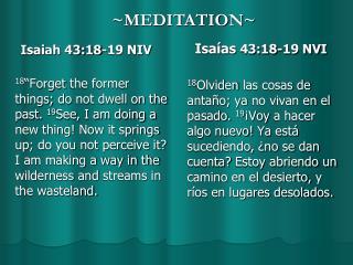 Isaiah 43:18-19 NIV