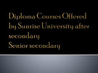 Diploma Courses Offered by SRU after