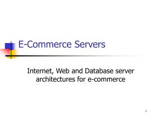 E-Commerce Servers