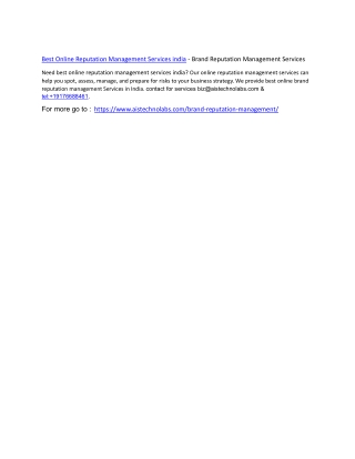 Brand Reputation Management–Online Reputation Management Company