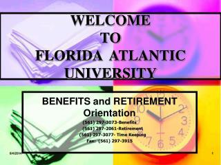WELCOME TO FLORIDA ATLANTIC UNIVERSITY