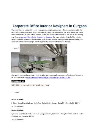 Corporate Office Interior Designers in Gurgaon