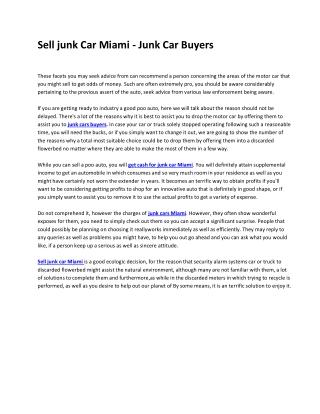 Sell junk Car Miami - Junk Car Buyers