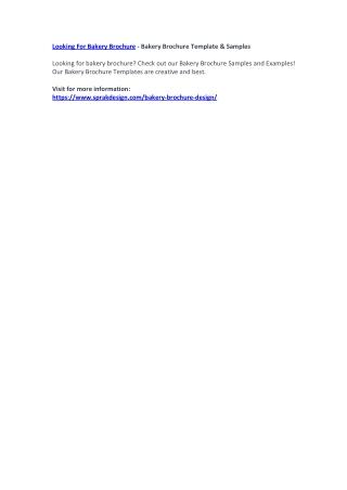 Looking For Bakery Brochure - Bakery Brochure Template & Samples