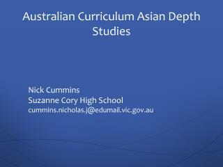 Australian Curriculum Asian Depth Studies