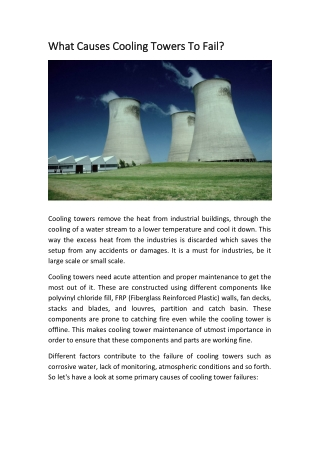 What Causes Cooling Towers to Fail?