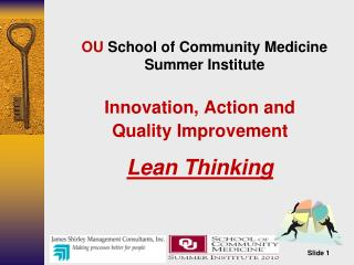 Innovation, Action and  Quality Improvement Lean Thinking