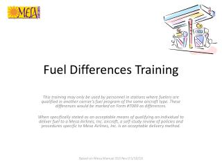 Fuel Differences Training