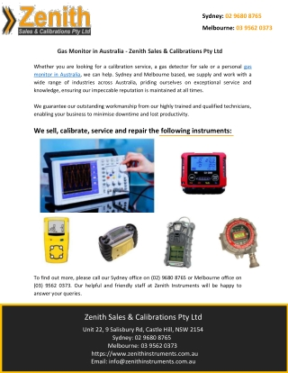 Gas Monitor in Australia - Zenith Sales & Calibrations Pty Ltd