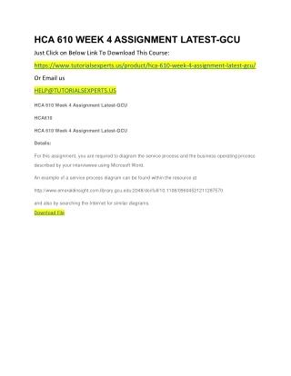 HCA 610 WEEK 4 ASSIGNMENT LATEST-GCU
