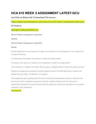 HCA 610 WEEK 5 ASSIGNMENT LATEST-GCU