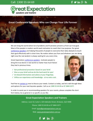 Great Conference Speakers Who can Change Your Life Forever