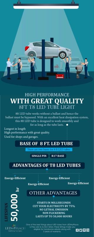 Energy Efficient T8 8ft LED Tube Lights