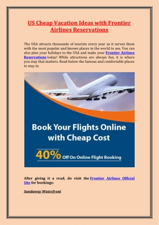 US Cheap Vacation Ideas with Frontier Airlines Reservations