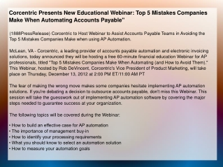 Corcentric Presents New Educational Webinar: Top 5 Mistakes