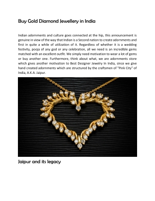 Buy Gold Diamond Jewellery in India