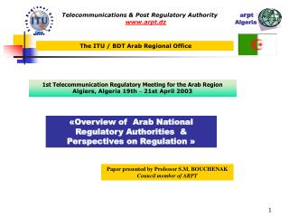 Telecommunications & Post Regulatory Authority             a rp t  arpt.dz                                      Alge