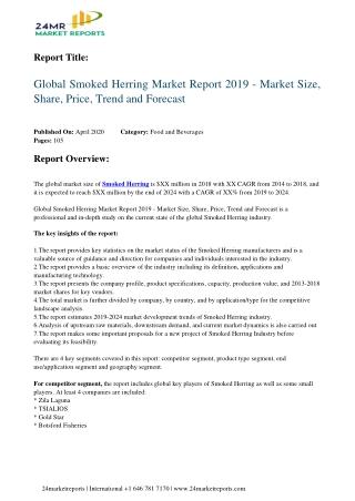 Smoked Herring Market Report 2019