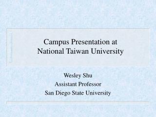 Campus Presentation at  National Taiwan University